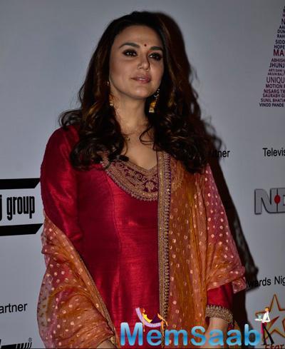 Preity Zinta Beautiful Look In Red Salwar Suit During 2014 Mumbai Film Festival Day 5
