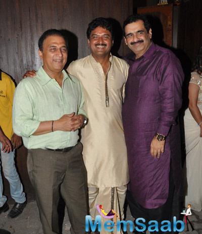 Sunil Gavaskar And Vardan Strikes A Smiling Pose For Camera During Vardan's House Party