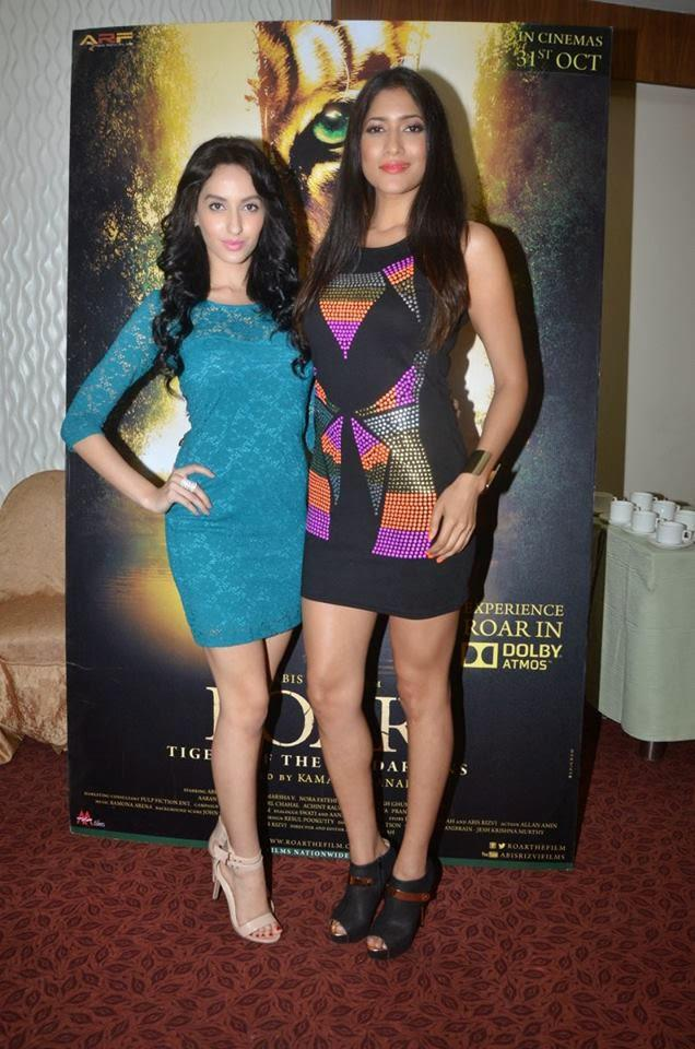 Nora Fatehi And Himarsha Venkatsamy Pose Together During The Press Meet Of Movie Roar - Tigers Of Sunderbans