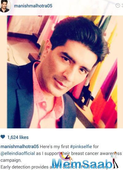 Manish Malhotra Taking Pink Selfie For Support Ogaan Cancer Foundation