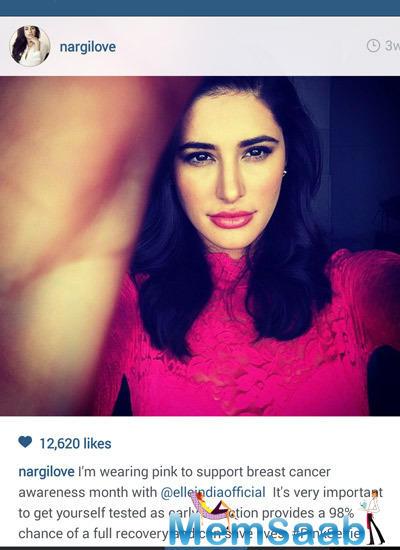 Nargis Fakhri Taking Selfie For Support Ogaan Cancer Foundation