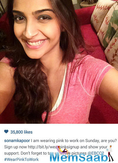 Sonam Kapoor Participating In Ogaan Cancer Foundation Pink Selfie Initiative