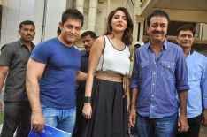Aamir Khan,Anushka Sharma And Rajkumar Hirani Posed During The Trailer Launch Of Film PK