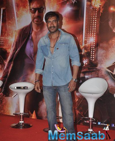 Ajay Devgan Dapper Look In Jeans And T-Shirt During The Trailer Launch Of Film Action Jackson