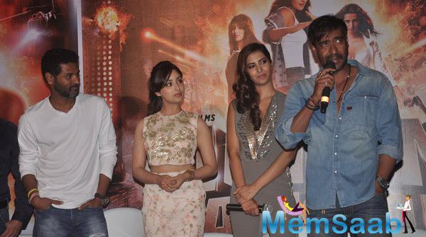 Ajay Devgan Interacts With Media,Prabhu Deva,Yami Gautam And Manasvi Mamgai Look On At The Trailer Launch Of Film Action Jackson
