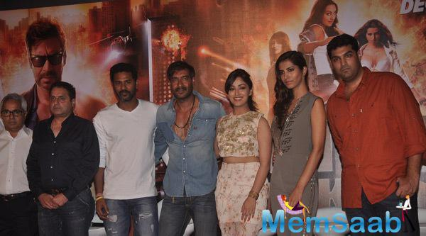 Prabhu,Ajay,Yami,Manasvi And Kunaal Clicked During The Trailer Launch Of Film Action Jackson