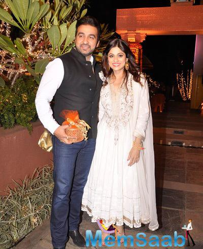 Raj Kundra And Shamita Shetty Posed At Sachiin J Joshi And Urvashi Sharma Diwali Bash