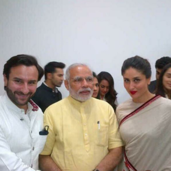 Saif And His Wife Kareena Posed With India PM Narendra Modi During The Inauguration Of Sir HN Reliance Foundation Hospital