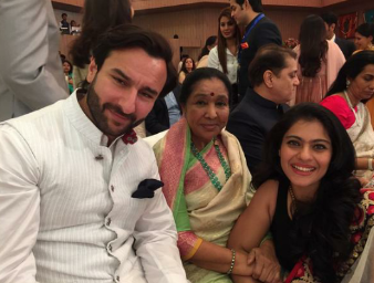 Saif,Kajol And Asha Bhosle Cool Pose During The Inauguration Of Sir HN Reliance Foundation Hospital
