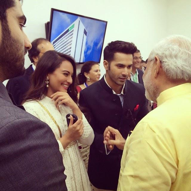 Sonakshi Sinha And Varun Dhawan Meets PM Modi During Sir HN Reliance Foundation Hospital Inauguration