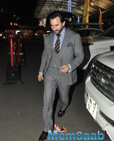 Saif Ali Khan In Suit Snapped At The Mumbai International Airport