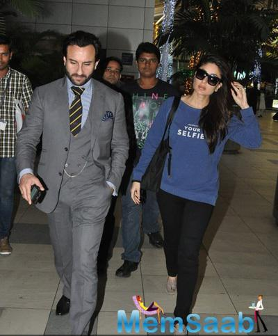 Saif Ali Khan With Wife Kareena Kapoor Khan Spotted At The Mumbai Airport
