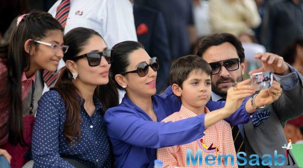 Kareena Kapoor Khan,Karisma Kapoor And Saif Ali Khan Taking Selfie At The Bhopal Pataudi Polo Cup 2014