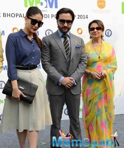 Kareena Kapoor Khan,Saif Ali Khan And Sharmila Tagore Posed During The Bhopal Pataudi Polo Cup 2014