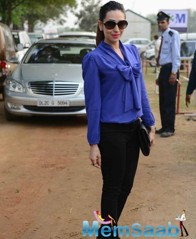 Karisma Kapoor Arrived The Bhopal Pataudi Polo Cup 2014 In New Delhi
