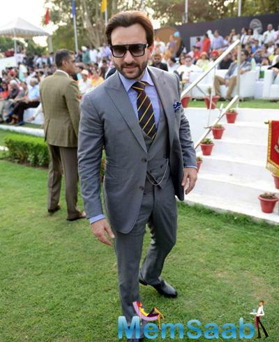 Saif Ali Khan Dashing Look In A Three Piece Grey Suit During The Bhopal Pataudi Polo Cup 2014