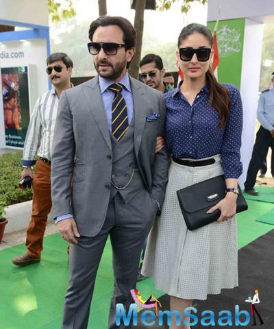 Saif Ali Khan Posed With Wife Kareena Kapoor Khan During The Bhopal Pataudi Polo Cup 2014