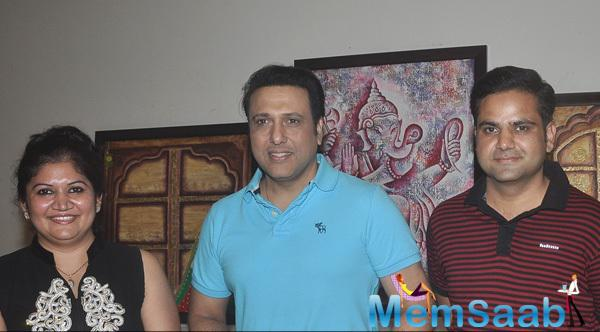 Dr. Seema Chaudhary,Govinda And Nitin Chaudhary Posed During Dr. Seema Chaudhary And Nitin Chaudhary Art Show