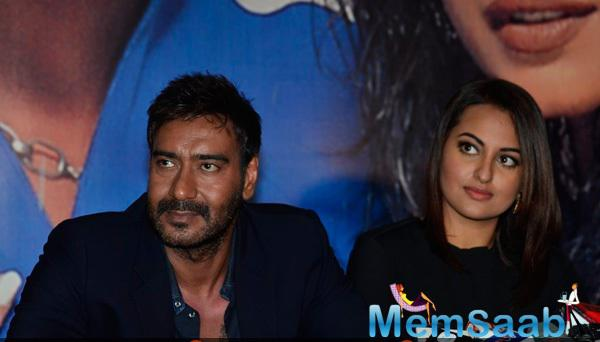 Ajay Devgan And Sonakshi Sinha At The Promotion Of Action Jackson On KBC Sets
