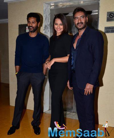 Prabhu Deva,Sonakshi Sinha And Ajay Devgan Posed For Media At Promotional Event Of Action Jackson On KBC Sets