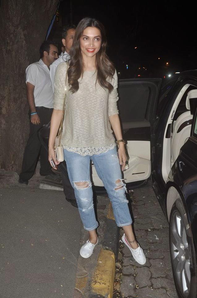 Deepika Padukone Stylish Look At Nido Bar Bandra