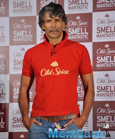 Milind Soman Posed For Camera During The Launch Of Old Spice Deodrant