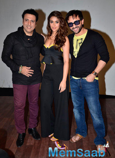 Govinda,Ileana D'Cruz And Saif Ali Khan Posed At The Press Meet Of Happy Ending