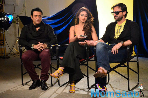 Govinda,Ileana D'Cruz And Saif Ali Khan Posing For Shutterbug At Press Meet Of Happy Ending