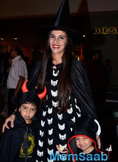 Tara Sharma And Her Kids At Palladium Halloween Bash