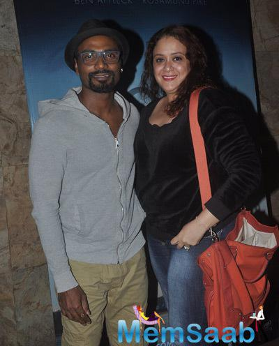 Remo D'Souza With Wife Lizelle D'Souza Posed During The Screnning Of Gone Girl