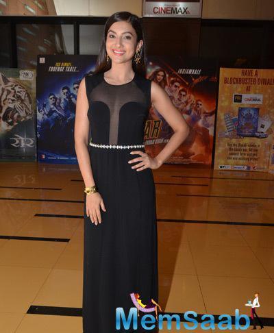 Gauhar Khan Strikes A Pose In Her Sheer Panelled Outfit During The Screening Of Rang Rasiya