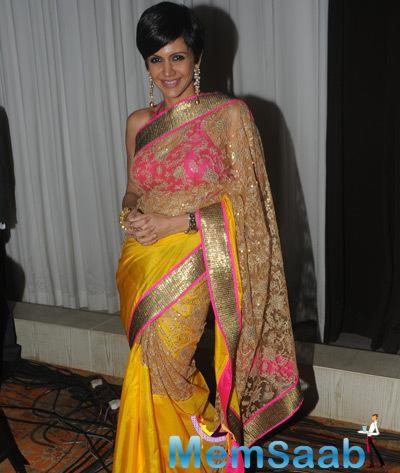 Mandira Bedi In Saree Ravishing Look During ACETECH 2014 Felicitation And Gala Networking Night