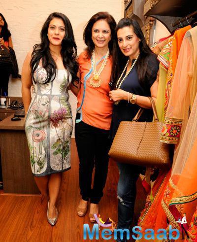 Kajol Devgan,Malini Agarwalla And Mana Shetty Posed For Camera During The Launch Of Malaga Flagship Store