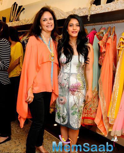 Malini Agarwalla Posed With Kajol Devgan At The Launch Of Malini Agarwall Label Malaga New Flagship Store