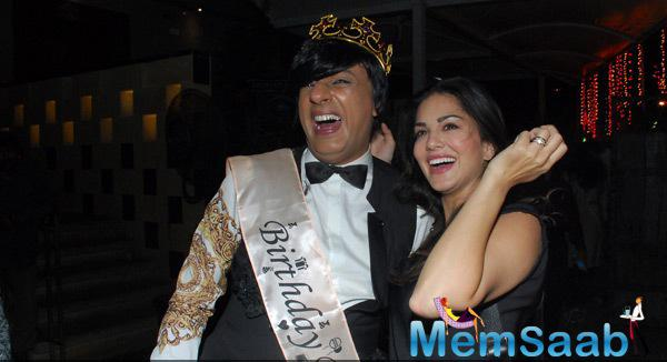 Rohit Verma Sharing A Good Laugh With Sunny Leone On His Birthday Bash