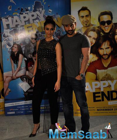 Ileana D'Cruz And Saif Ali Khan Promote Their Upcoming Flick Happy Ending At Mehboob Studio
