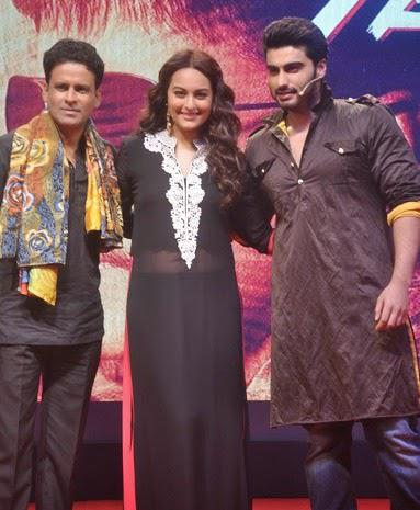 Manoj Bajpai,Sonakshi Sinha And Arjun Kapoor Clicked During The Trailer Launch Of Tevar Movie
