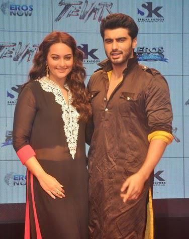 Sonakshi Sinha And Arjun Kapoor During The Trailer Launch Of Tevar Movie