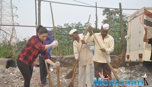Tamannaah Bhatia Walks Down The Street Of Andheri With A Broom