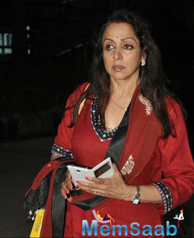 Hema Malini Seen At Mumbai International Airport