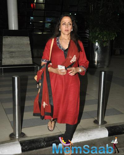Hema Malini Spotted At Mumbai International Airport