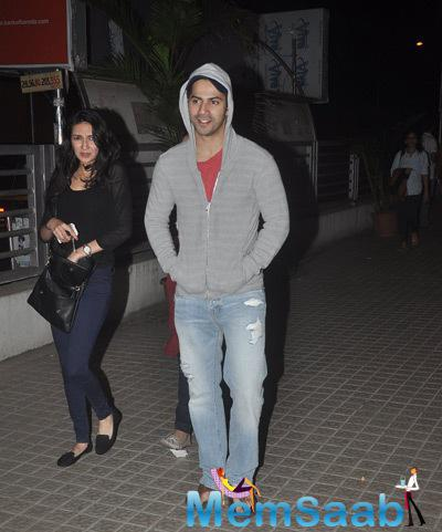 Varun Dhawan Sported Gray Jacket With Cap At PVR In Juhu