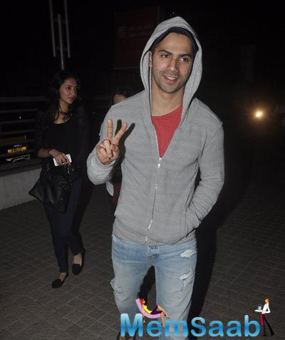 Varun Dhawan Strikes A Pose For Camera At Juhu, Mumbai