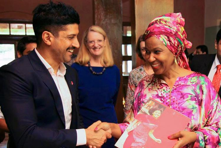 Farhan Akhtar Cool Smiling Look During The Launch Of UN Women Goodwill