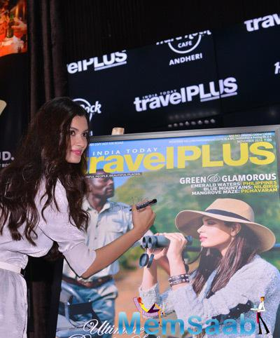 Diana Penty Signs Autograph During The Latest Cover Launch Of Travel Plus Magazine