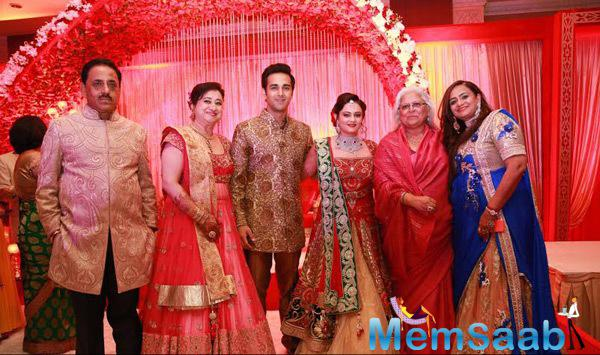 Beena Kak Posed With Newly Wed Couple At Pulkit Samrat Reception