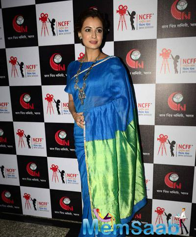 Dia Mirza In Saree Trendy Look During The National Children Film Festival 2014