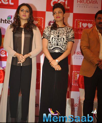 Huma Qureshi And Kajal Aggarwal Posed For Camera At The Launch Of CCL 100 Hearts Initiative