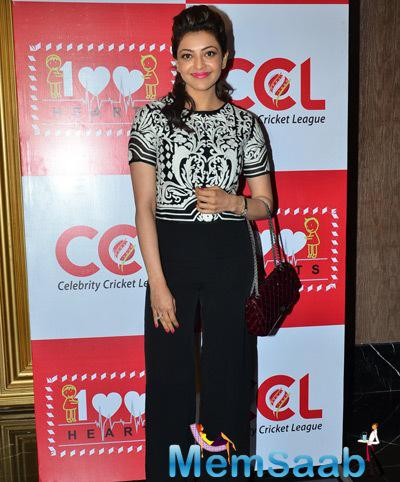 Kajal Aggarwal Glamour Look During The Launch Of CCL 100 Hearts Initiative