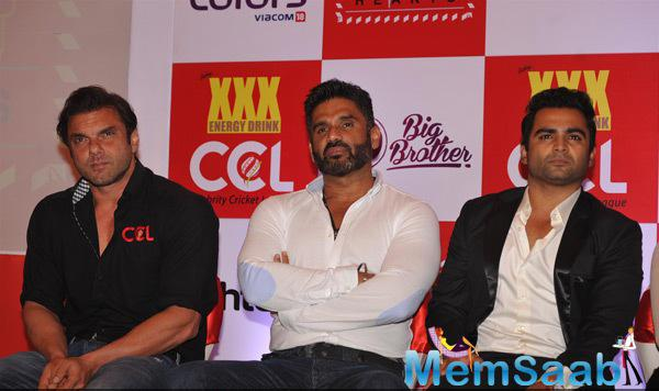 Sohail Khan,Sunil Shetty And Sachiin J Joshi Attend The Press Meet During The Launch Of CCL 100 Hearts Initiative